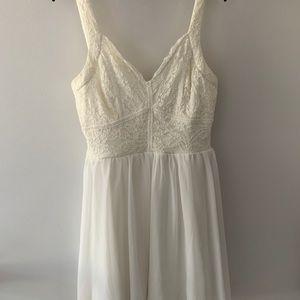 Francesca's White Lace and Chiffon Dress